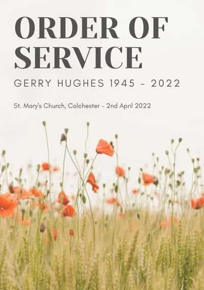 Funeral Order Of Service template featuring poppy motif