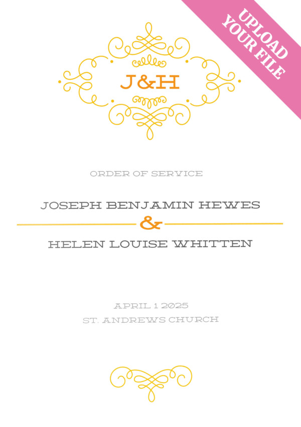Upload your own file wedding order of service product