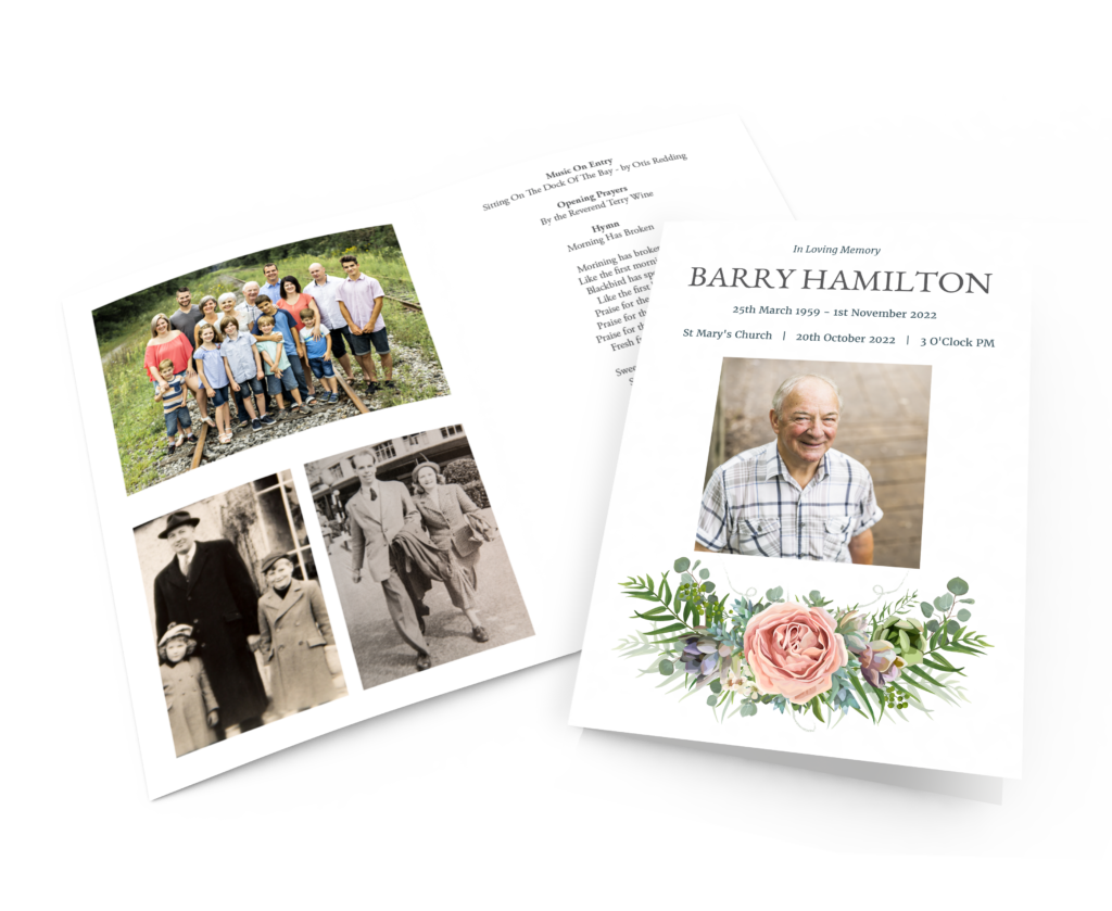 Order Of Service Card With Family Photos Inside