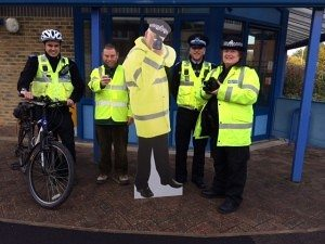 PC Speedy Cardboard Cutout Policeman - Out with some colleagues